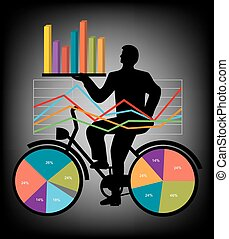 Economic Results Presentation - Businessman on bicycle with...