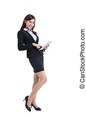 business woman with tablet - business woman lean something...