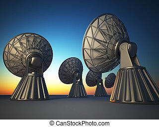Radio telescope - 3d render illustration of parabolic dish...