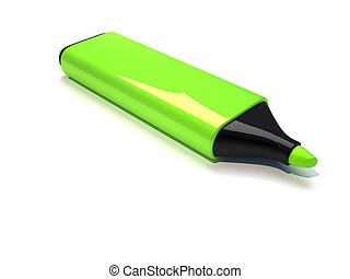 Marker - 3d render illustration of a green marker over white