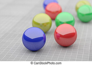 Close-up of four colorful futuristic balls