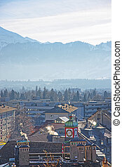 panorama, di, Case, in, Thun, e, il, alpi,