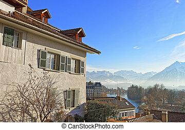 panorama, di, Thun, Città, con, Thunersee, e, alpi,