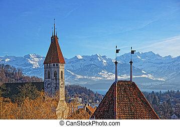 panorama, di, Thun, città, chiesa, con, Thunersee, e,...