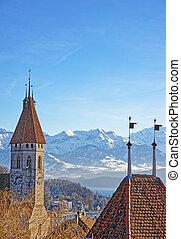 panorama, di, Thun, città, chiesa, con, alpi, e,...