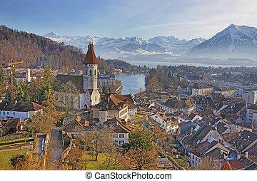 panorama, di, Thun, chiesa, e, Città, con, Thunersee,...