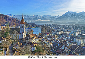 Panorama of Thun Church and City with Thunersee and Alps....