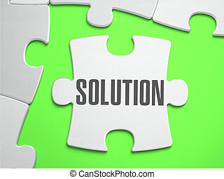 Solution - Jigsaw Puzzle with Missing Pieces Bright Green...