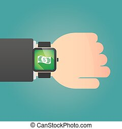 Man showing a smart watch with a dollar bank note -...