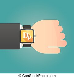 Man showing a smart watch with a drachma currency sign -...