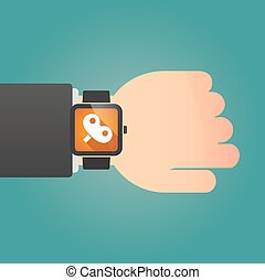 Man showing a smart watch with a toy crank - Illustration of...