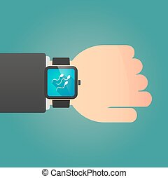 Man showing a smart watch with sperm cells - Illustration of...
