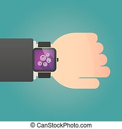 Man showing a smart watch with oocytes - Illustration of a...