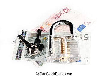 euro and lock with keys