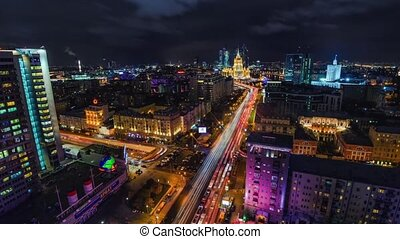Night hight view in Moscow, Timlapse on a skyscraper...
