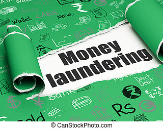 Banking concept: black text Money Laundering under the piece...
