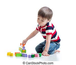 男孩, 孩子, 玩, 塊, 玩具