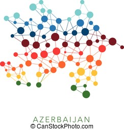 dotted texture Azerbaijan vector background on white