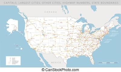 High detailed USA road map vector - High detailed USA...