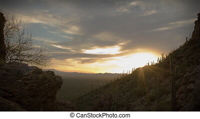 (1164) Twilight Arizona Desert Sunset Clouds with Cactus Saguaros