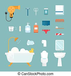 Hygiene icons vector set isolated on white background Face...