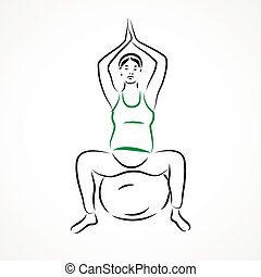 Lotus pose on fitball - Vector set of a pregnant woman going...