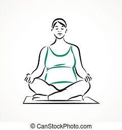 Lotus pose - Vector set of a pregnant woman going in for...