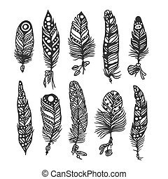 Boho feather hand drawn effect vector style illustration....