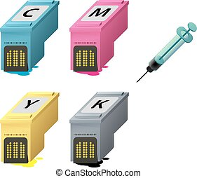 CMYK ink cartridges in perspective. Syringe with a drop -...