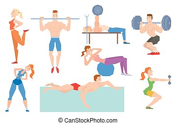 Cartoon sport gym people group exercise on fitness ball...