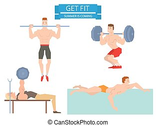 Cartoon sport gym people group exercise on fitness ball -...