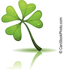 St. Patrick's Holidays Four Leaf Clover - Illustration of a...