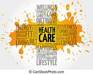 Health care word cloud, health cross concept