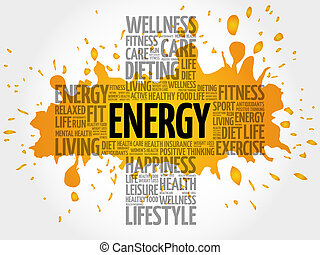 ENERGY word cloud, health cross concept