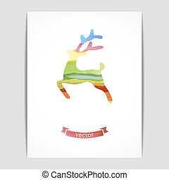 Watercolor deer - Vector illustration of a card with a...