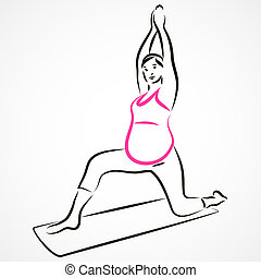 Stretching - Vector set of a pregnant woman going in for...