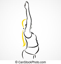 Stretching hands - Vector set of a pregnant woman going in...