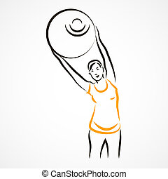 Stretching with fitball - Vector set of a pregnant woman...