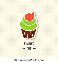 Sweet chat - Vector illustration of a card with cupcake Eps...