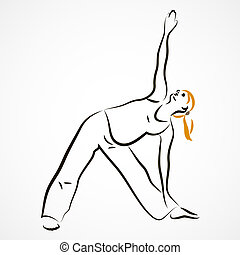 Triangle pose - Vector set of a pregnant woman going in for...