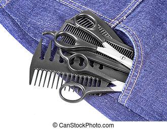 azul, vaqueros, y, herramienta, pelo, accesorios,