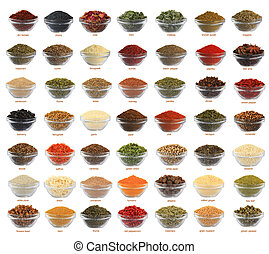 collage spices - spices of a collage are isolated on a white...