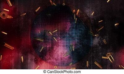 Falling bullets grunge globe loop - War concept falling...