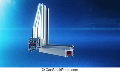 Window plastic profile cut animation - Window white plastic...