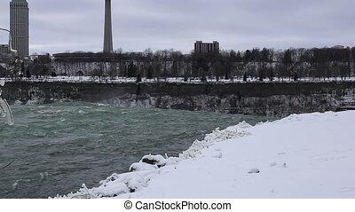 Niagara falls shot two - Winter snow Niagara falls shot two