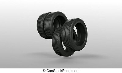Tyre tire isolated on white animated present gift with mask...