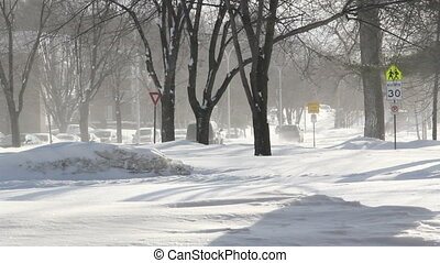 Winter blizzard street scene HD, Sorel-Tracy, Quebec, Canada