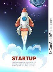 Business start up consept vector background. Rocket project...