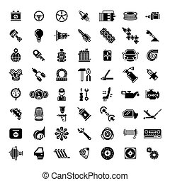 Black car parts icons Gear for automobile, battery and...