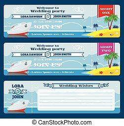 Retro boarding pass ticket. Wedding invitation template....